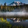 Mt Rainier And Reflection Lake In Morning Light - Mount Rainier National Park, WA