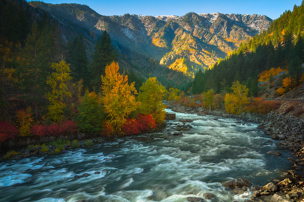 Sun Highlighting The Colors Of Leavenworth - Leavenworth, Central Washington, WA