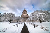 Pathway To The Capital Building In Snow