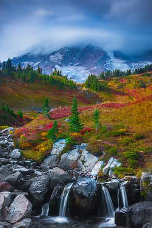 Fall Colors Above Mrytle Falls - Paradise Side, Mt Rainier National Park, WA