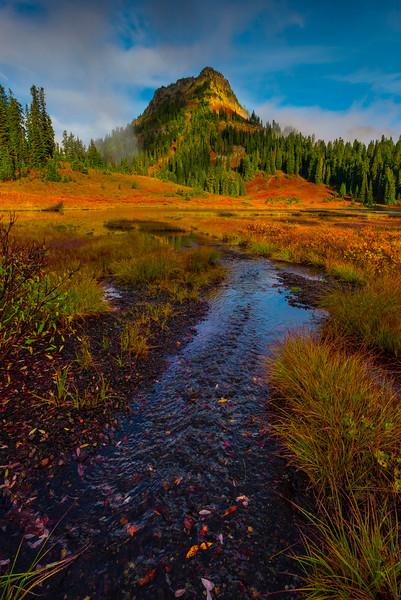 River Leading In Lower TipsooLake -Mount Rainier National Park, Washington