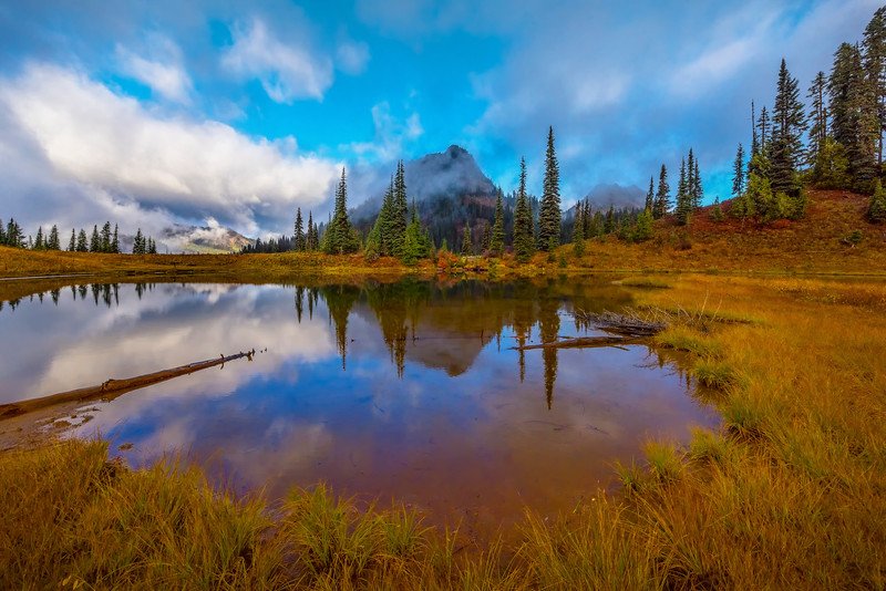 Tipsoo Lake Mirror Cloud Reflections -Mount Rainier National Park, Washington