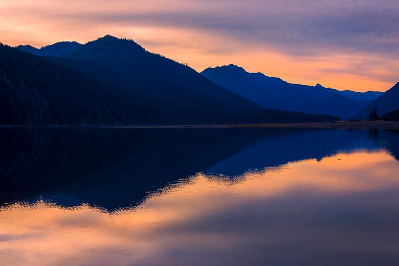 Lake Cushman Twilight Silhouettes - Lake Cushman State Park, Hoodsport, Washington