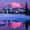 Mt Rainier Alpenglow In Tight