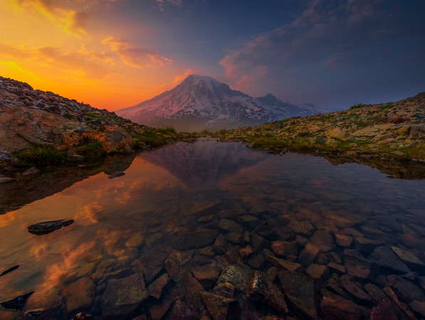 Mt Rainer Reflected In Tarn At Sunset Pinnacle Peak Area, Mount Rainier National Park, WA