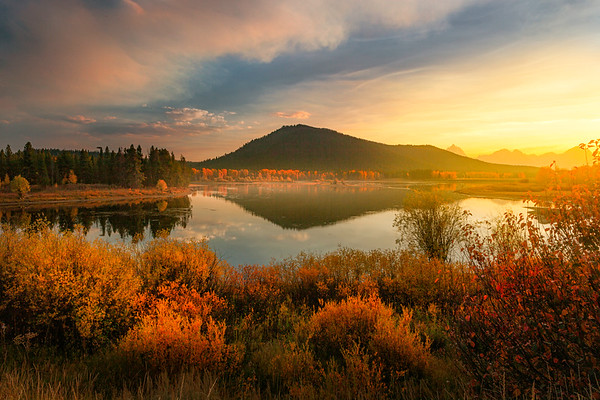 Last Light Of Warmth Across Pond - Grand Teton National Park, WY