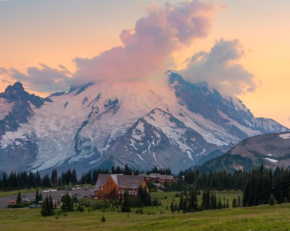 The Mountain And Lodge At Sunset -Sunrise Side, Mount Rainier National Park, Washington