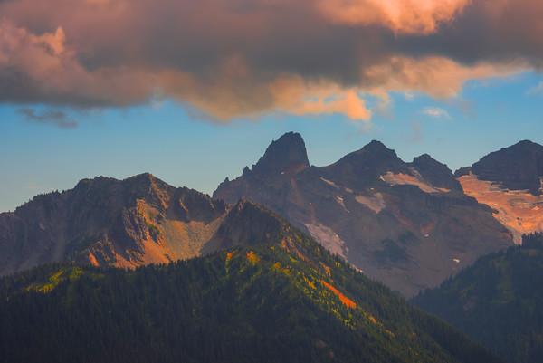 Looming Clouds Over Peaks On Mount Rainier