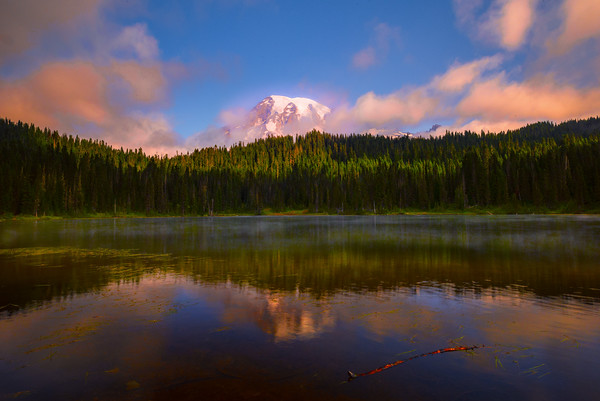 Reflection Lakes And Mt Rainier Mist