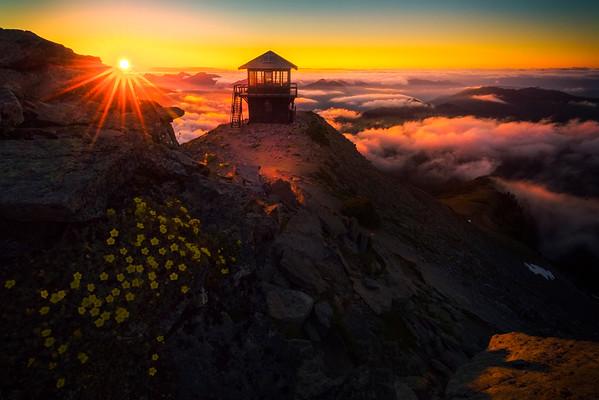 Sunstar Bouncing Off Rock At Mt Fremont - Mt Fremont Fire Lookout, Mount Rainer National Park, WA