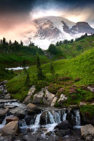 Edith Creek and Rainier Peaking Through - Mount Rainier National Park, WA