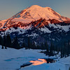 Images in late spring of sunrise and Mt Rainier from Tipsoo Lake
