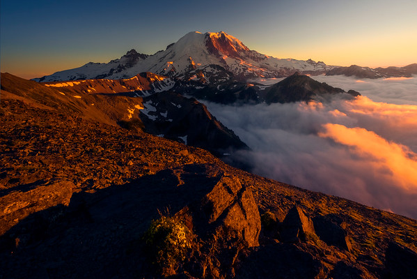 A View Of Mt Raineir As The Clouds Roll In At Sunset - Mt Fremont Fire Lookout, Mount Rainer National Park, WA
