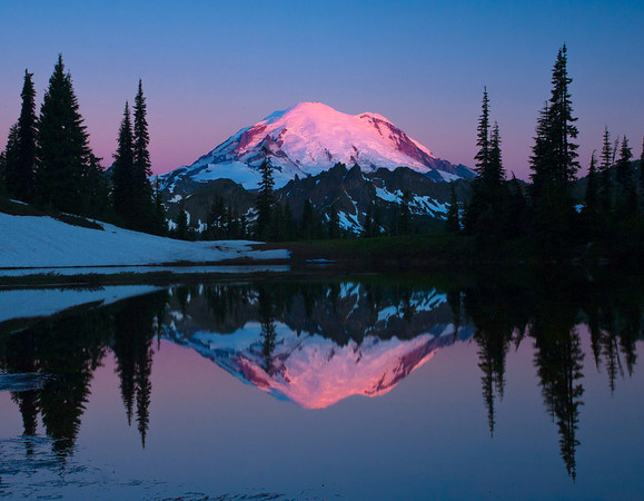 Alpenglow From Tipsoo Lake - Mount Rainier National Park, Longmire, Washington