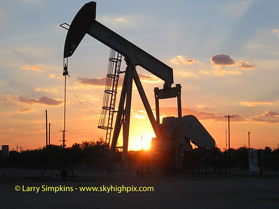 Oilfield pump & sunset, Odessa, Texas, July 2006