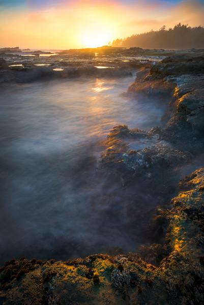 Cascade Pools At Sunset At Botany Bay - Botany Bay, Botanical Beach, Juan De Fuca Trail, Vancouver Island, BC, Canada