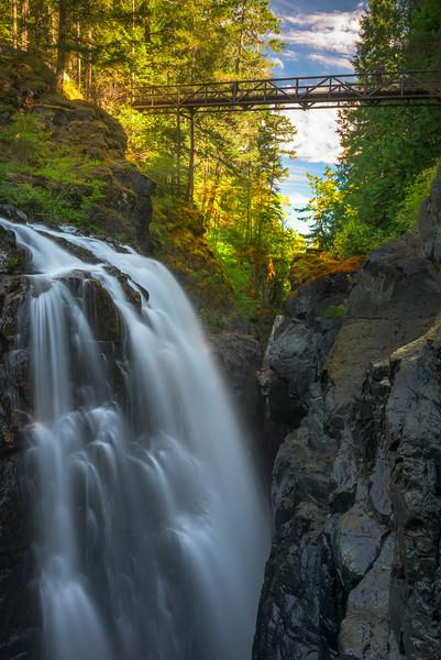 Double Waterfalls At English Falls - Englishman River Falls Provincial Park, Parksville, Vancouver Island, BC, Canada