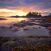 Sun Setting On Frank Island And Chesterman Beach - Frank Island, Chesterman Beach, Tofino, Vancouver Island, BC, Canada