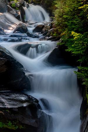 Cascading Steps Framed Within Creek - Mount Rainier National Park, WA