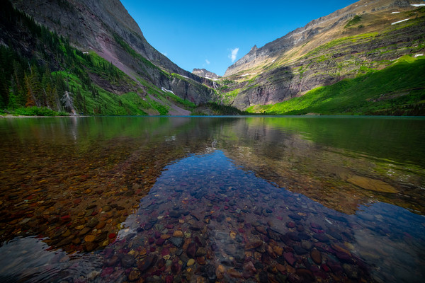 Grinnell Lake Reflections - Grinnell Lake, Glacier National Park, Montana