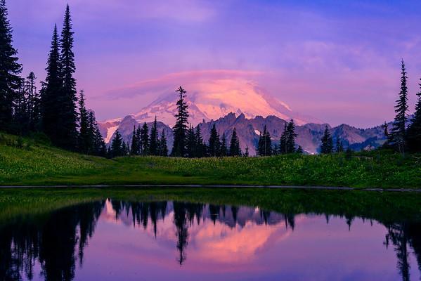 Mirror Alpenglow Reflections - Upper Tipsoo Lake, Mount Rainier National Park, Washington St.