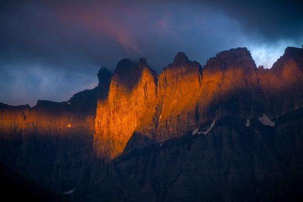 Striking Light Dappled Across The Peaks - Swiftcurrent Lake, Many Glacier, Glacier National Park, Montana