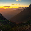 Sunset Shining Into The Valley - Going To The Sun Road, Glacier National Park, Montana
