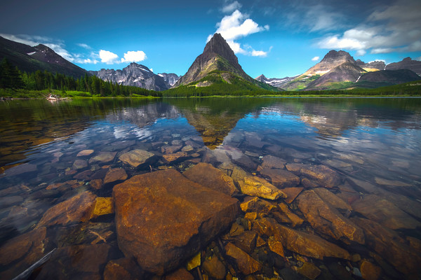 Underwater Skipping Stones - Swiftcurrent Lake, Many Glacier, Glacier National Park, Montana