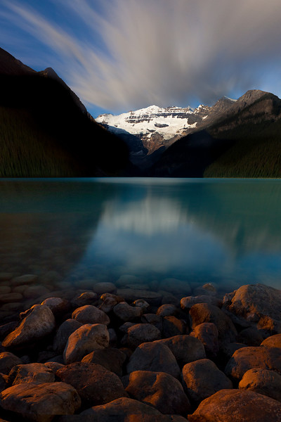 A nighttime image from Lake Louise in Banff National Park