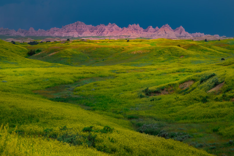 Badlands Spotlight In Dark Skies - Badlands National Park, South Dakota