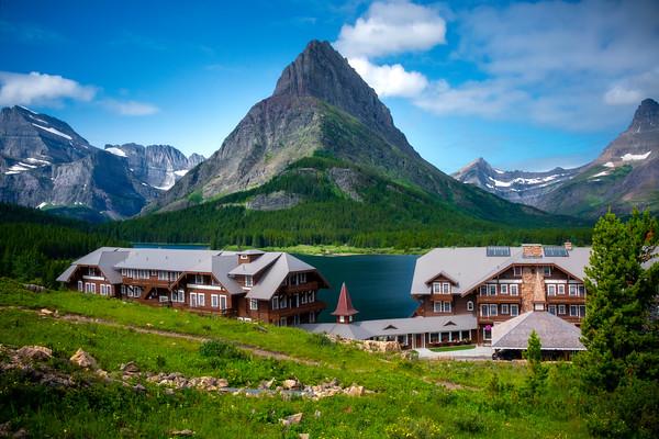 Many Glacier Lodge In The Morning - Swiftcurrent Lake, Many Glacier, Glacier National Park, Montana