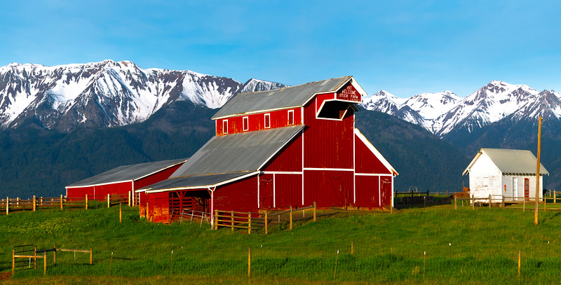 Morning Light On The Red Barn In The Wallowa Valley_Cropped Wallowa County, Oregon