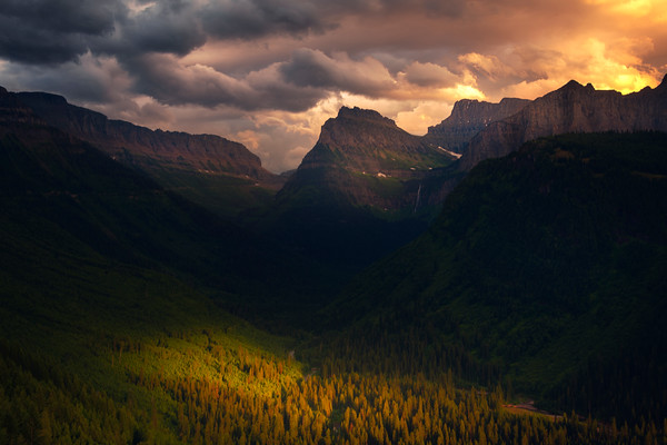 Sunset Storm Clouds Above The Glacier Valley - Going To The Sun Road, Glacier National Park, Montana