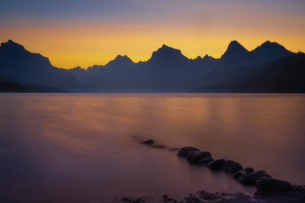 Lake McDonald Pink Sunrise - Lake McDonald, Glacier National Park, Montana