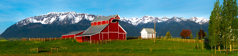 Morning Light On The Red Barn In The Wallowa Valley Wallowa County, Oregon