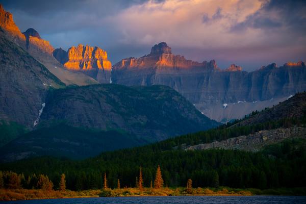 Glance Of First Light On The Peaks - Swiftcurrent Lake, Many Glacier, Glacier National Park, Montana