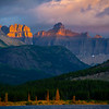 Glance Of First Light On The Peaks - Swiftcurrent Lake, Many Glacier, Glacier National Park, Montana