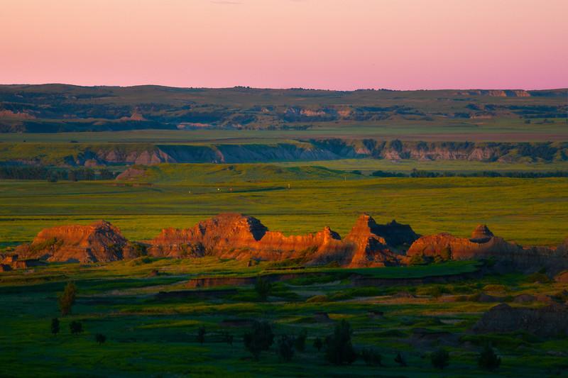 Scattered Morning Light Across Valley - Badlands National Park, South Dakota