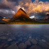 Swift Current Lake And Grinnell Peak At Sunrise - Swiftcurrent Lake, Many Glacier, Glacier National Park, Montana