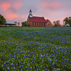 Art Church At Sunset