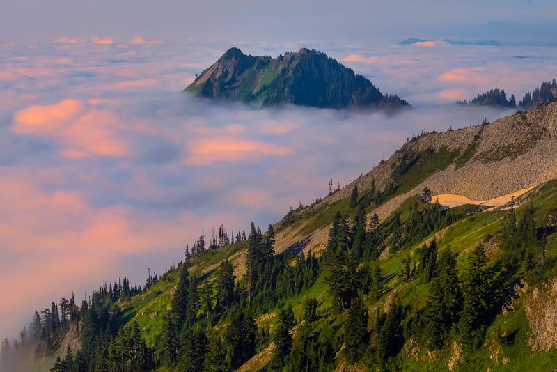 Island In The Sky With Sunrise_Mount Rainier National Park_Washington