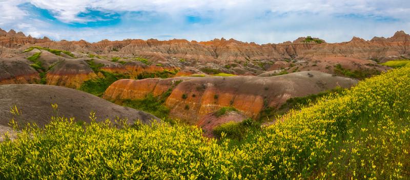 Pano Of Sweet Clover and Rainbow Canyon - Badlands National Park, South Dakota