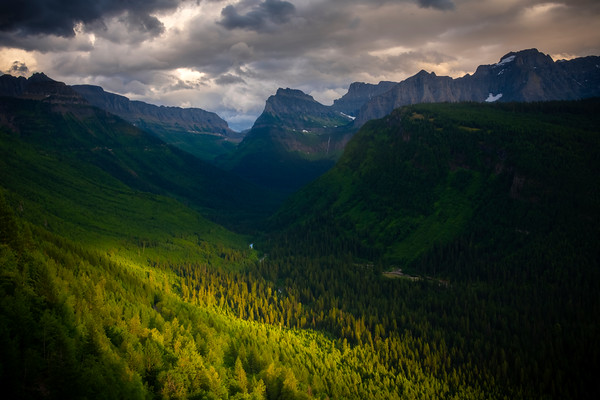 Looking Into The Valley Floor - Going To The Sun Road, Glacier National Park, Montana