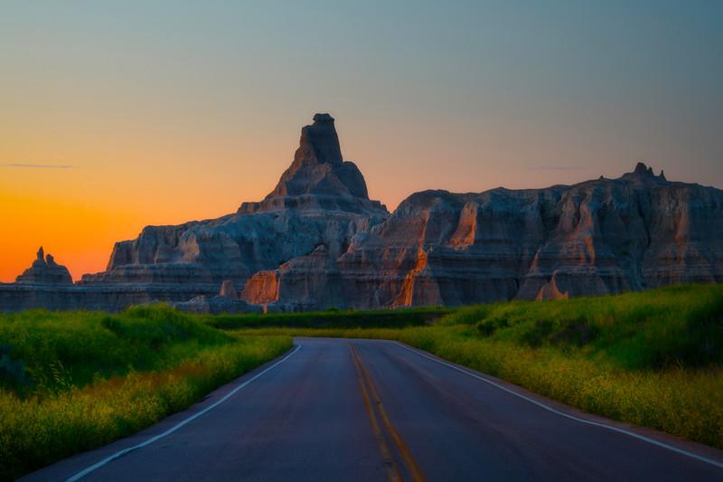 The Road Into Sunrise - Badlands National Park, South Dakota