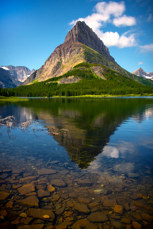 Grinnell Peak In Morning Light - Swiftcurrent Lake, Many Glacier, Glacier National Park, Montana