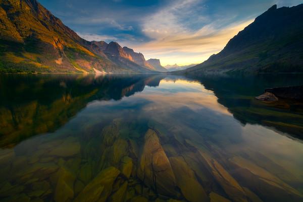 Glacier Sunset From St Marys Shoreline - Wild Goose Island Lookout, Saint Mary's Lake, Glacier National Park, Montana