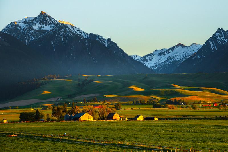 Last Light Shines Into The Valley Beneath The Wallowa Mountains Wallowa County, Oregon