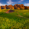 Pano Of Walk In Trail And Badlands - Badlands National Park, South Dakota