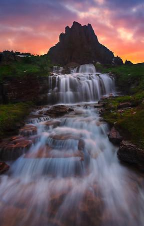 Straight On Waterfall - Glacier National Park, Montana