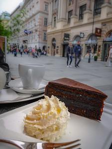 Sacher-Torte and cream in Vienna. Austria